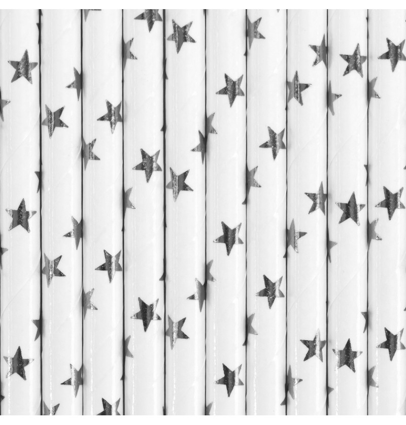 Set de 10 pajitas blancas con estrellas plateadas de papel