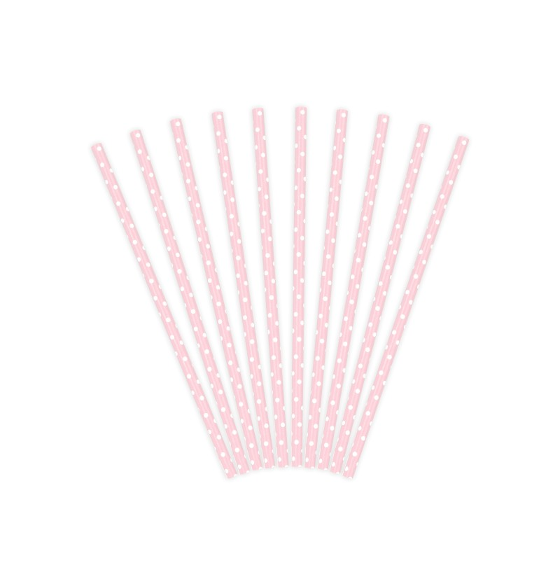 Set de 10 pajitas rosas pastel con lunares blancos de papel - Gold Bridal Shower