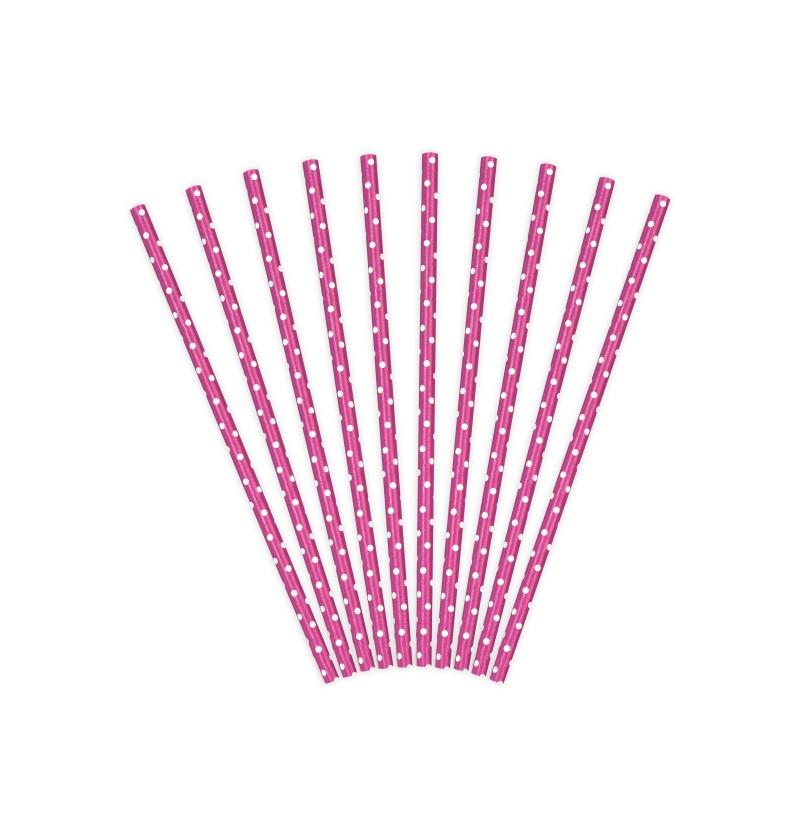 Set de 10 pajitas rosa con lunares  blancos de papel - Polka Dots Collection