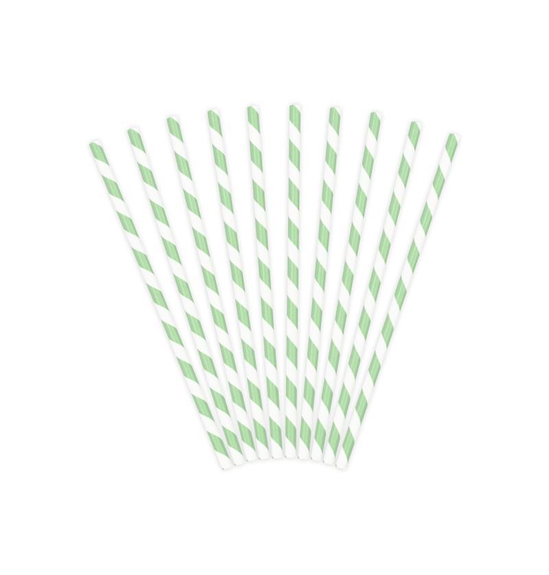 Set de 10 pajitas con rayas verdes menta de papel