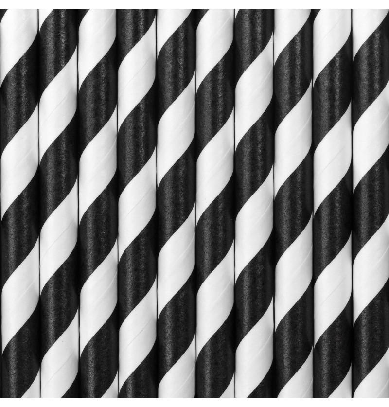 Set de 10 pajitas negras con rayas blancas de papel - Pirates Party