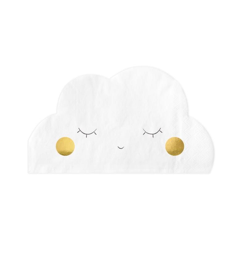 Set de 20 servilletas blancas con forma de nube de papel - Little Plane