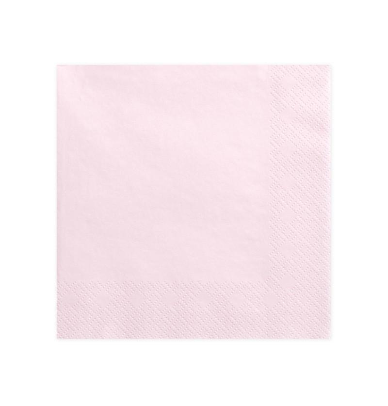 Set de 20 servilletas rosas pastel claro de 40 cm de papel