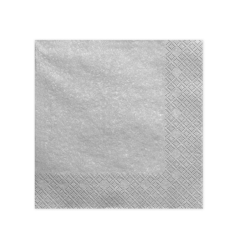 Set de 20 servilletas plateadas de 40 cm de papel