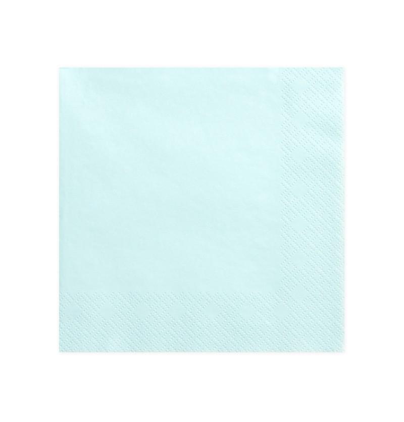 Set de 20 servilletas azul cielo de 40 cm de papel