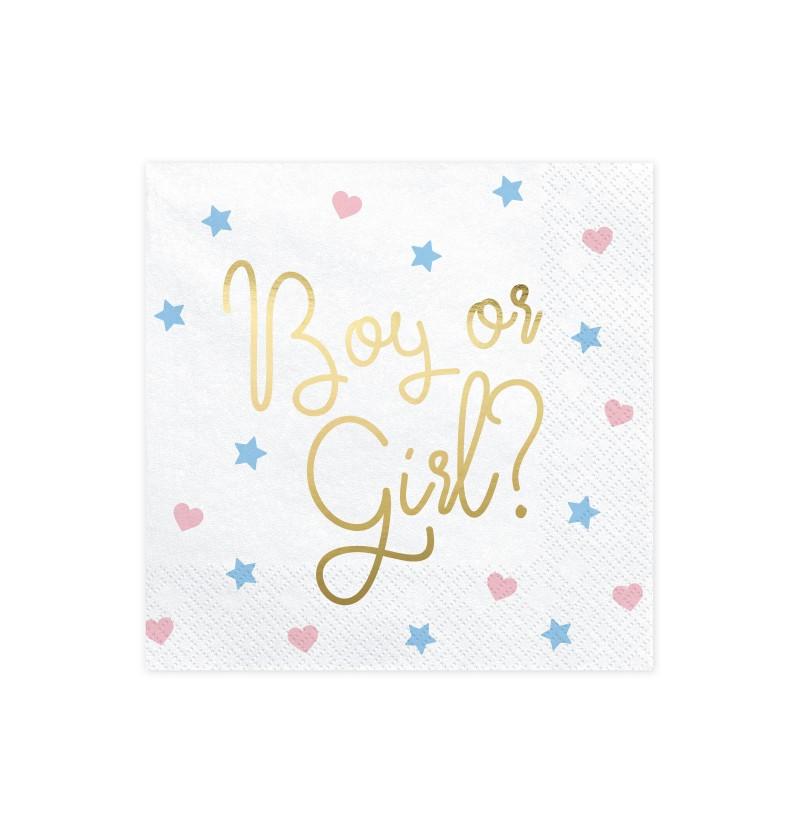 "Set de 20 servilletas blancas ""Boy Or Girl?"" de papel - Gender Reveal Party"