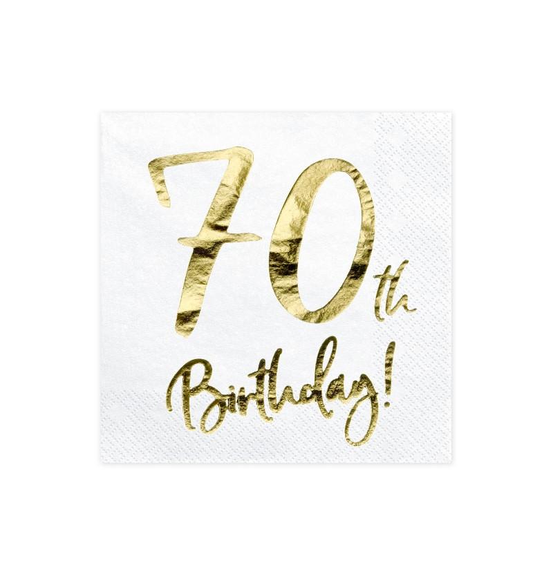 """Set de 20 servilletas blancas """"70th Birthday"""" de papel - Milestone birthday"""