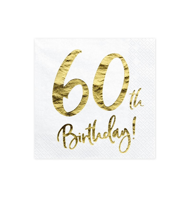 "Set de 20 servilletas blancas ""60th Birthday"" de papel - Milestone birthday"