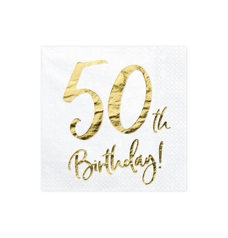 "Set de 20 servilletas blancas ""50th Birthday"" de papel - Milestone birthday"