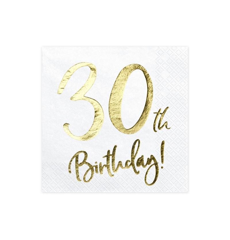 """Set de 20 servilletas blancas """"30th Birthday"""" de papel - Milestone birthday"""