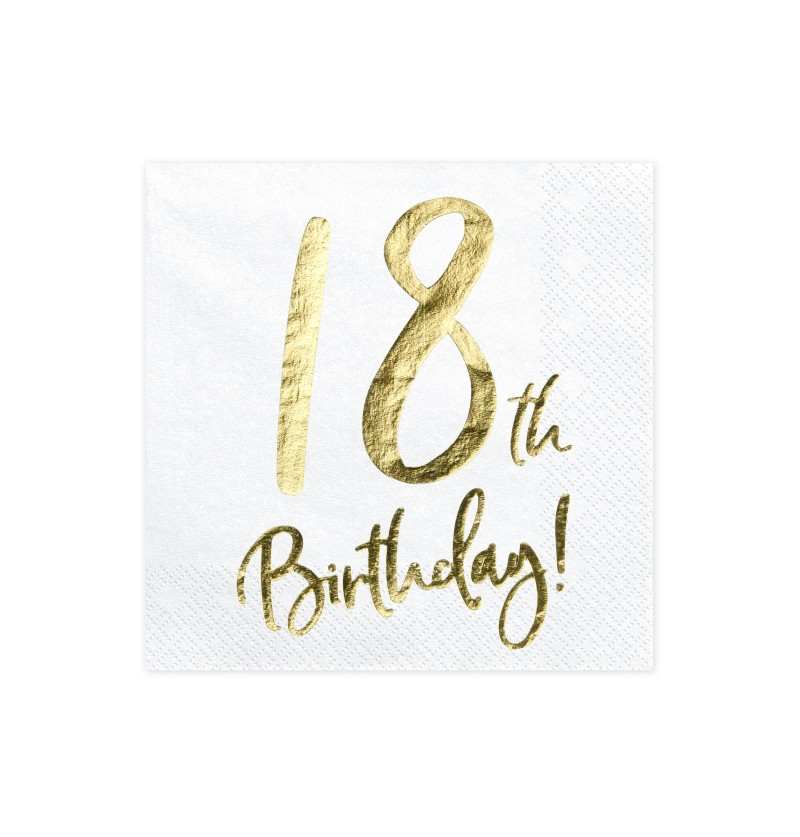 "Set de 20 servilletas blancas ""18th Birthday"" de papel - Milestone birthday"