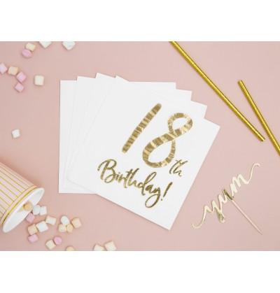"""Set de 20 servilletas blancas """"18th Birthday"""" de papel - Milestone birthday"""