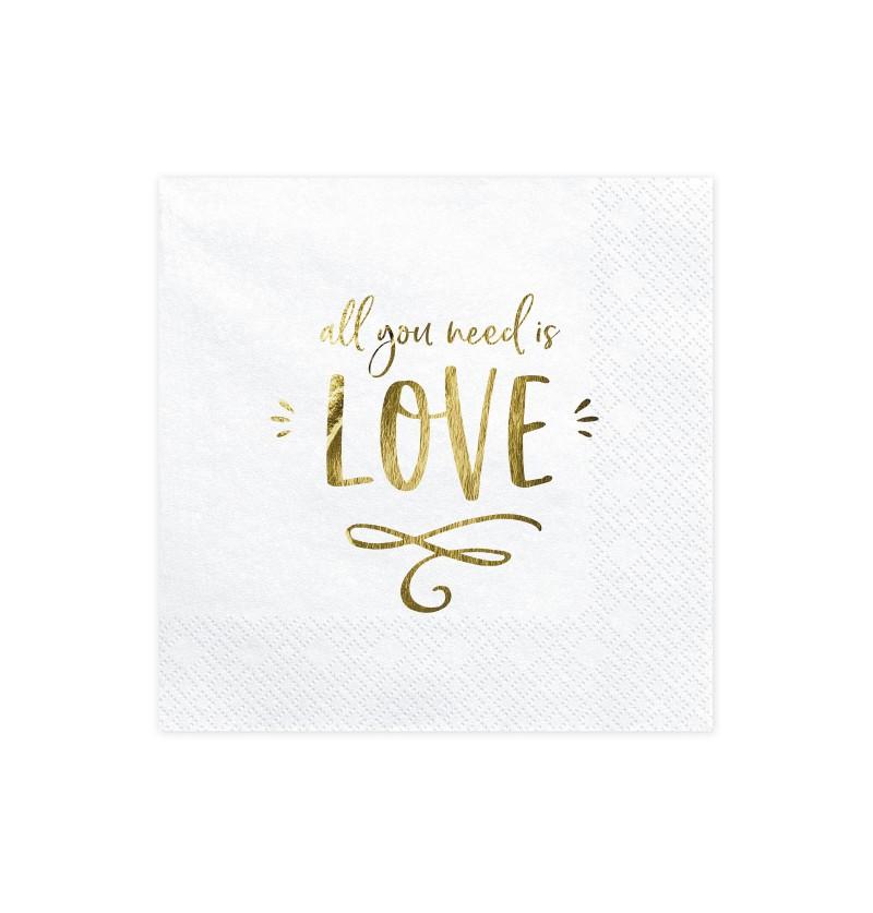 Set de 20 servilletas All you need is love - Gold Wedding