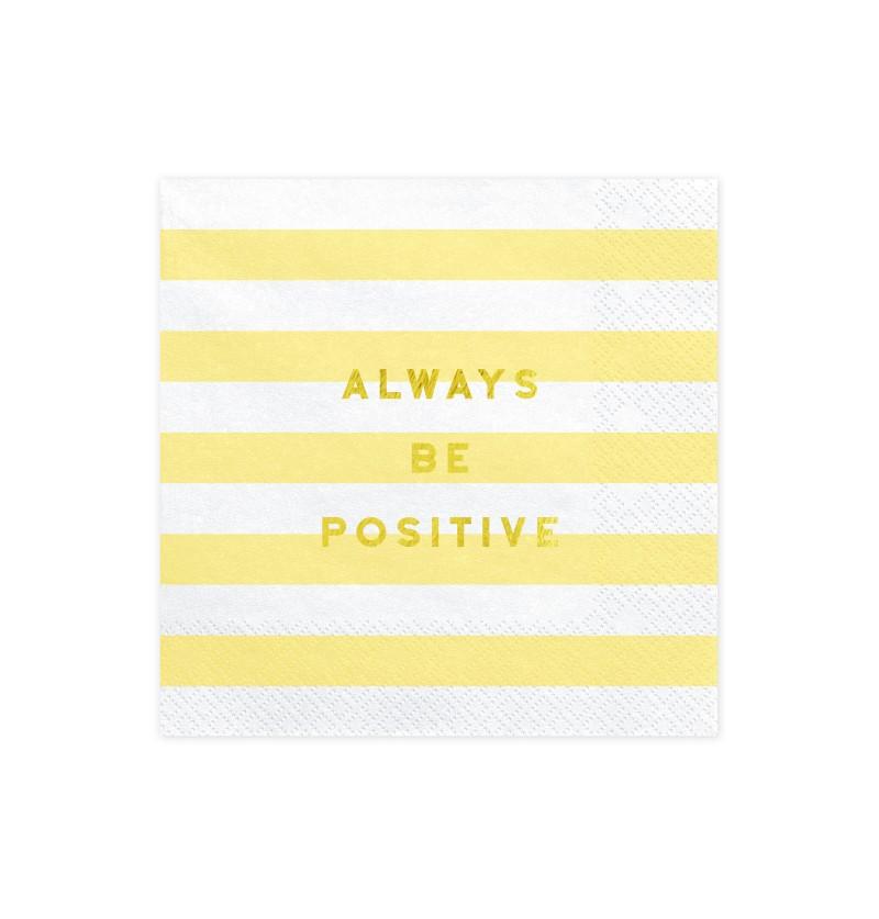 """Set de 20 servilletas amarillas pastel con estampado """"Always be positive"""" de papel - Yummy"""
