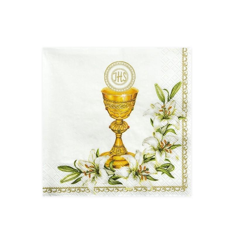 Set de 20 servilletas blancas con estampado de cáliz y flores de papel - First Communion
