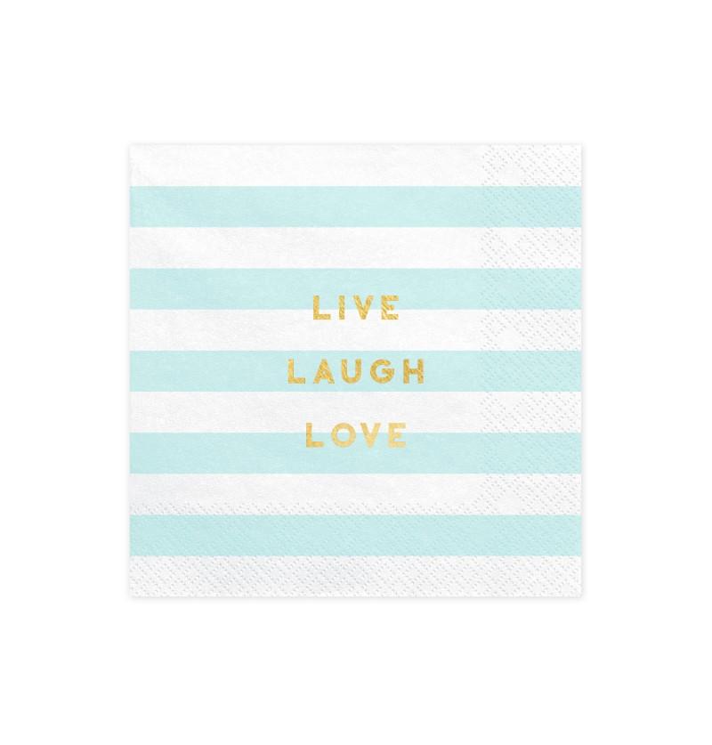 """Set de 20 servilletas azul pastel con estampado """"Live Laugh Love"""" de papel - Yummy"""