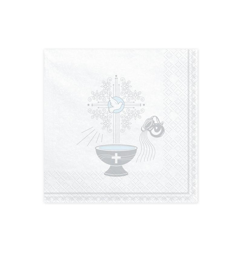 Set de 20 servilletas blancas con estampado de cáliz plateado de papel - First Communion