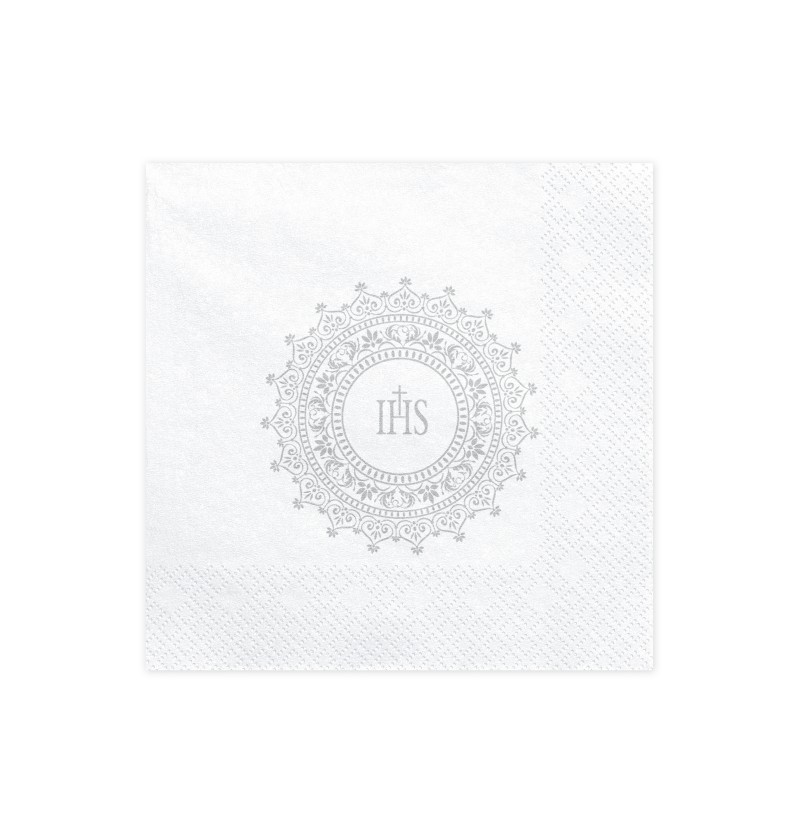 "Set de 20 servilletas blancas con estampado ""IHS"" plateado de papel - First Communion"