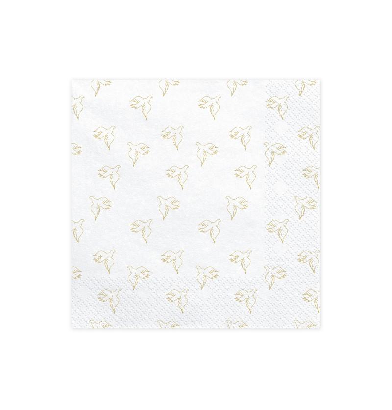 Set de 20 servilletas blancas con palomas doradas de papel - First Communion