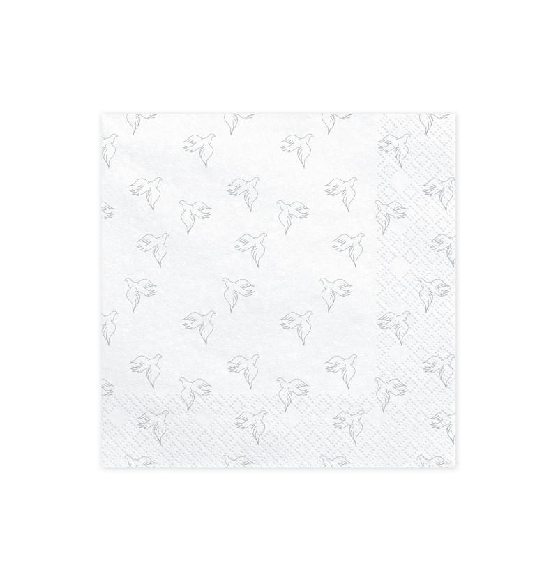 Set de 20 servilletas blancas con palomas plateadas de papel - First Communion