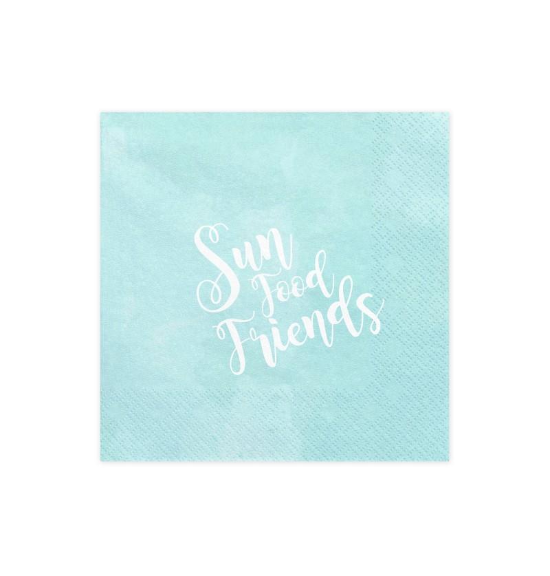 """Set de 20 servilletas azules """"Sun Food Friends"""" de papel - Summer Time"""