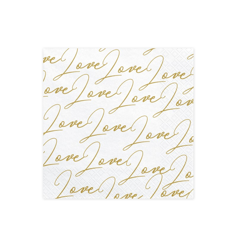 "Set de 20 servilletas blancas con estampado ""Love"" de papel - Dusty Blue"