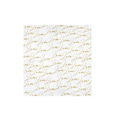 """Set de 20 servilletas blancas con estampado """"Love"""" de papel - Dusty Blue"""