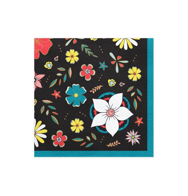 Set de 20 servilletas negra con estampado de flores de papel - Dia de Los Muertos Collection