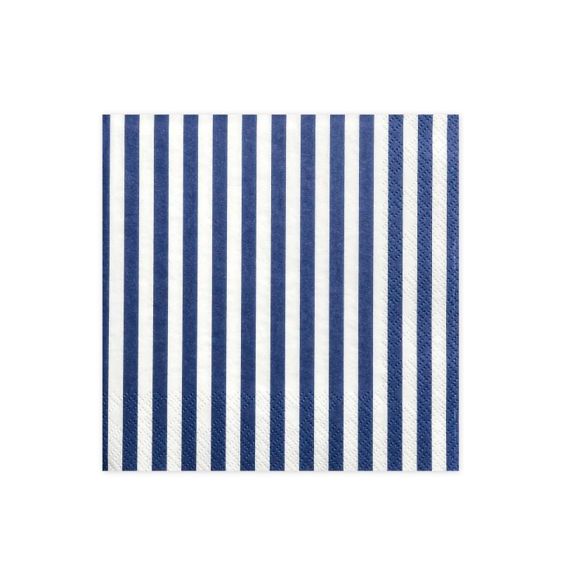 Set de 20 servilletas blancas con rayas azules de papel