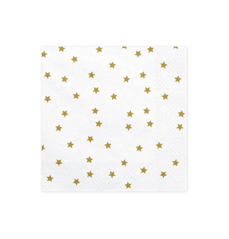 Set de 20 servilletas blancas con estrellas doradas de papel