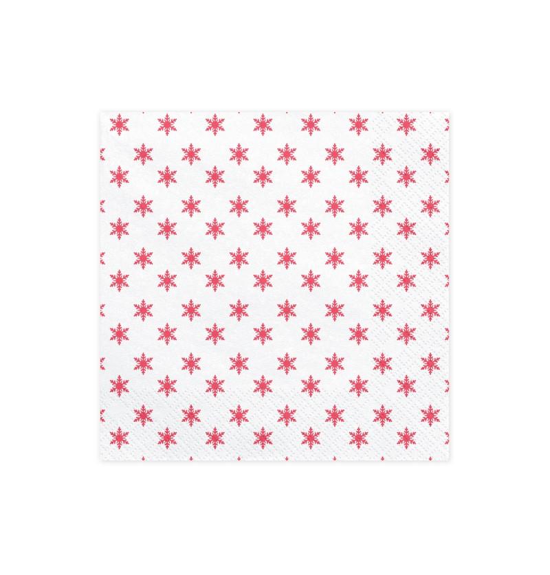 Set de 20 servilletas blancas con estampado de copos de nieve rojos de papel - Merry Xmas Collection