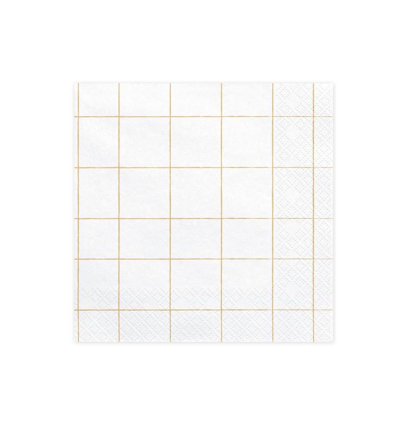 Set de 20 servilletas blancas con cuadrícula dorada de papel - Happy New Year Collection