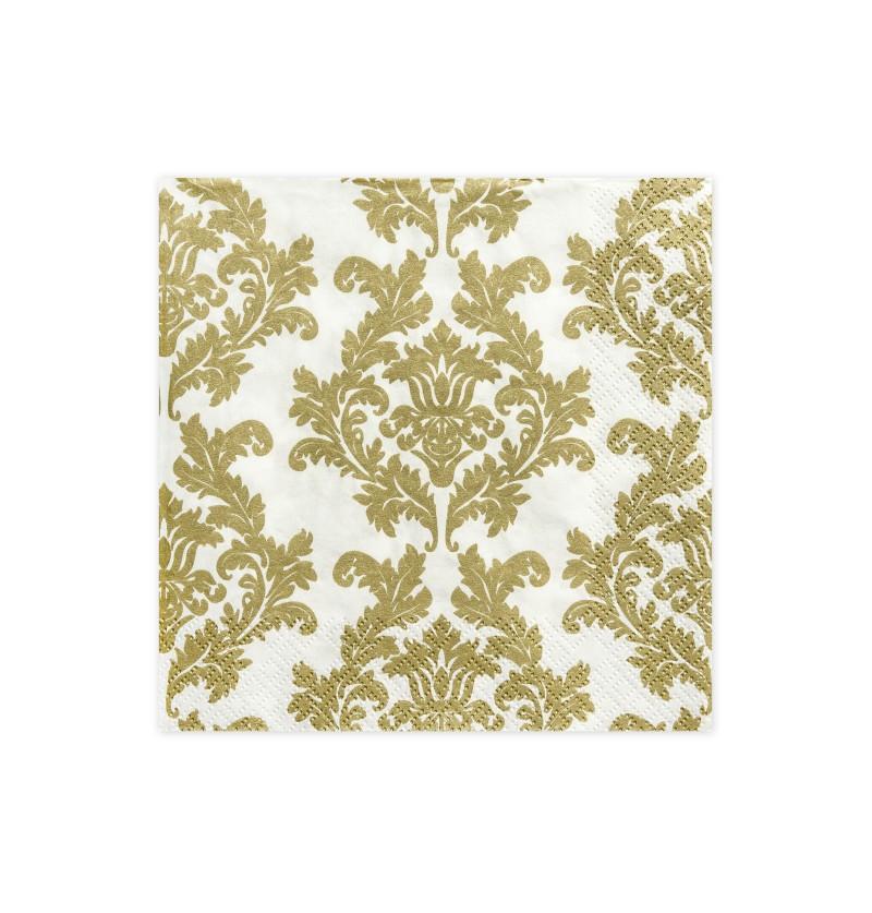 Set de 20 servilletas blancas con estampado dorado de papel