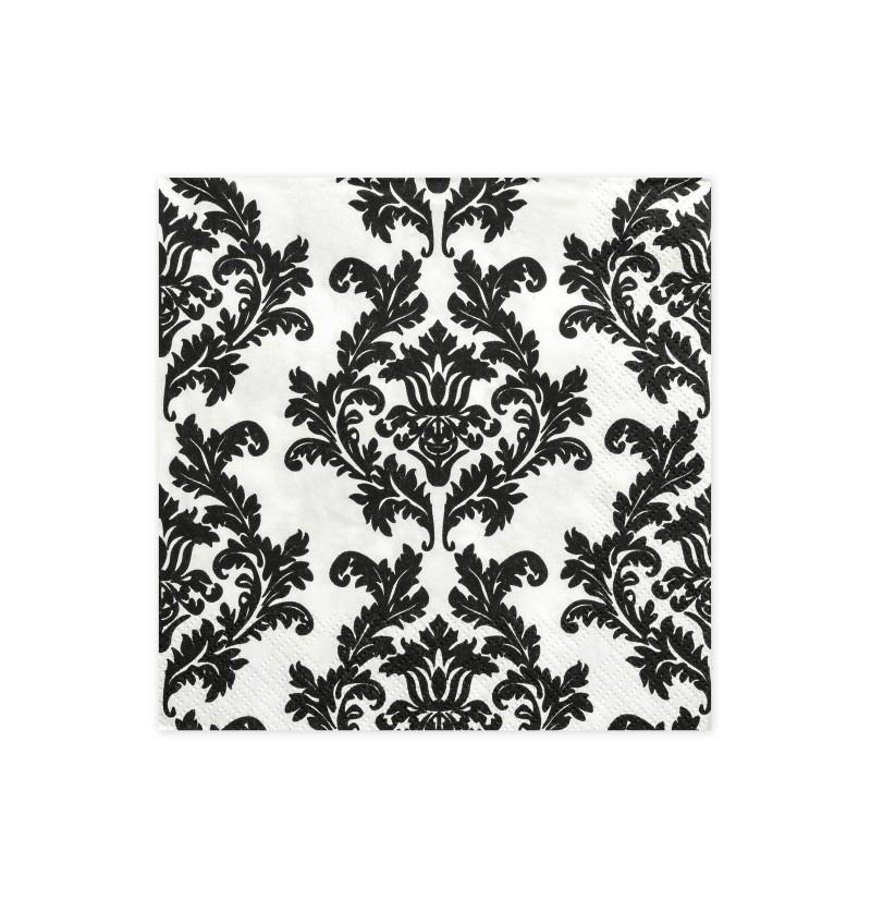 Set de 20 servilletas blancas con estampado negro de papel