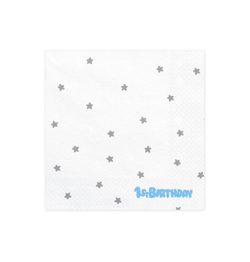 "Set de 20 servilletas blancas con estrellas plateadas ""1St Birthday"" de papel- Blue 1st Birthday"