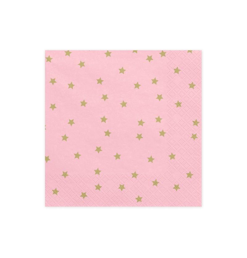 Set de 20 servilletas rosas con estrellas doradas de papel