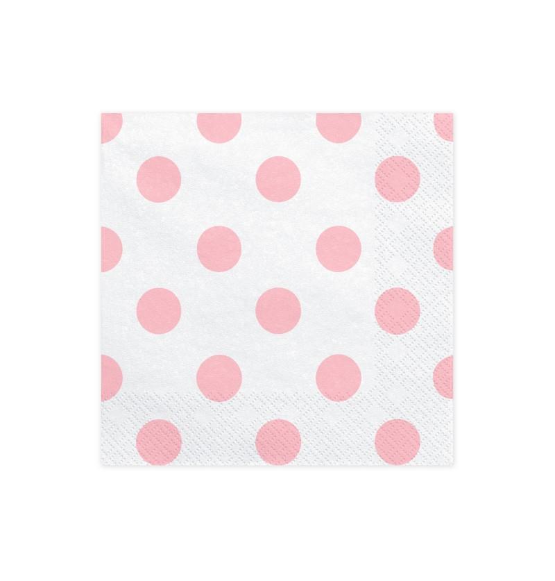 Set de 20 servilletas blancas con lunares rosas de papel