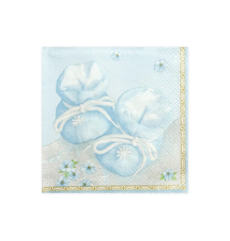 Set de 20 servilletas azules con estampado de patucos de papel