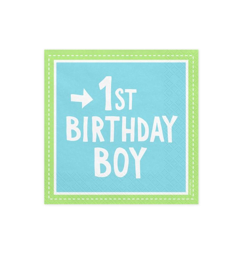 "Set de 20 servilletas azules ""1St Birthday Boy"" de papel - 1st Birthday"