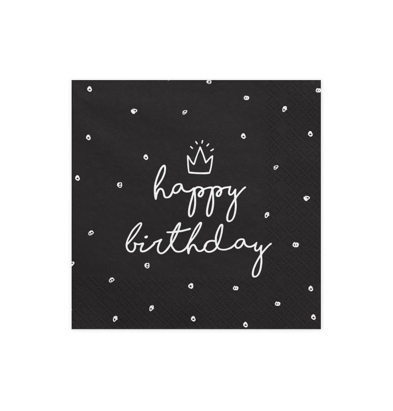 """Set de 20 servilletas negras """"Happy Birthday"""" de papel - Happy Birthday"""
