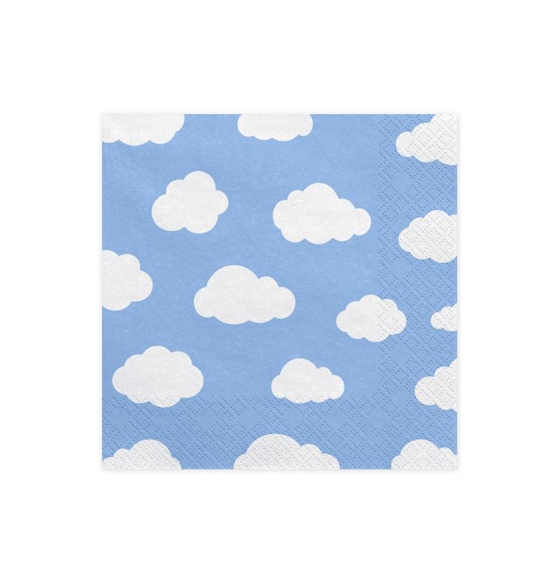 Set de 20 servilletas azules con nubes - Little Plane
