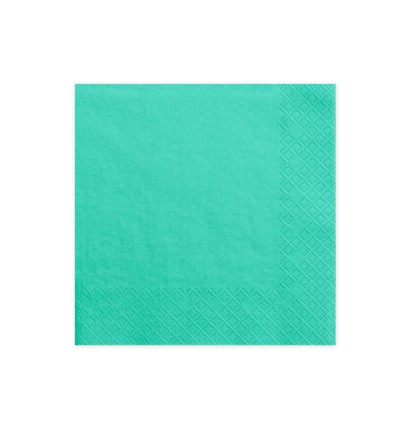 Set de 20 servilletas verdes menta oscuras de papel