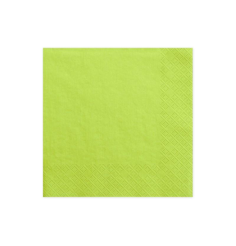 Set de 20 servilletas verdes claro de papel