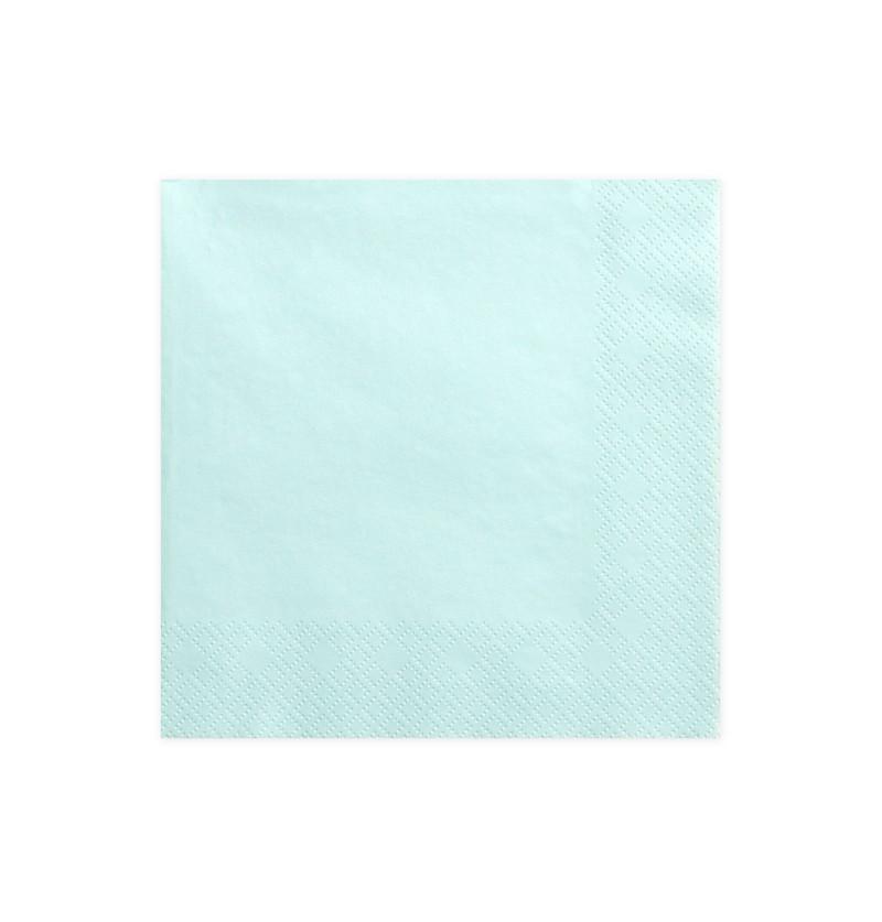 Set de 20 servilletas  azules turquesa de papel