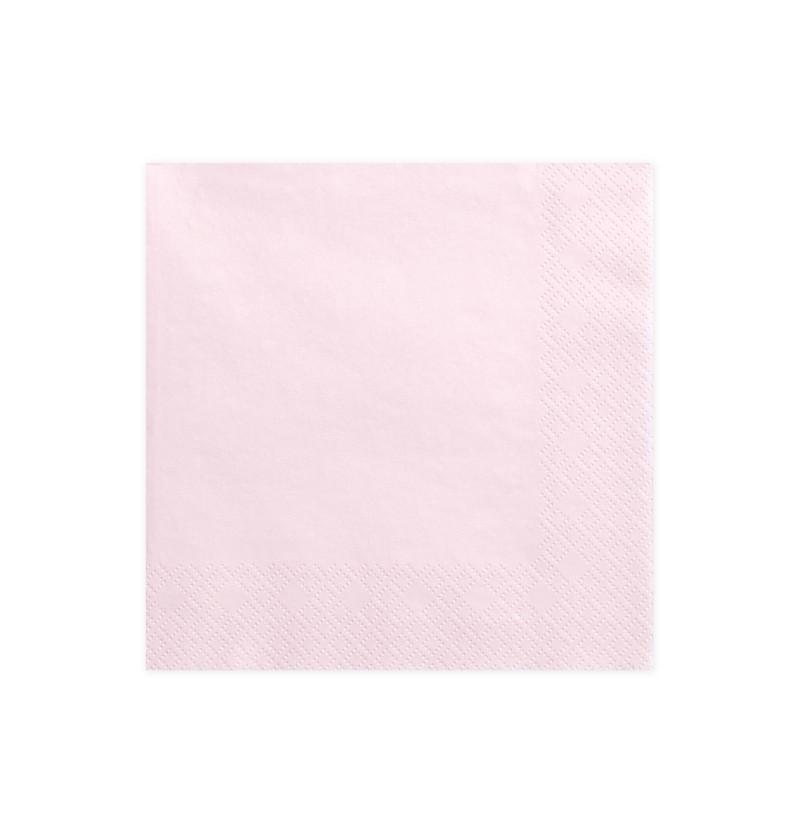 Set de 20 servilletas rosas pastel claro de papel