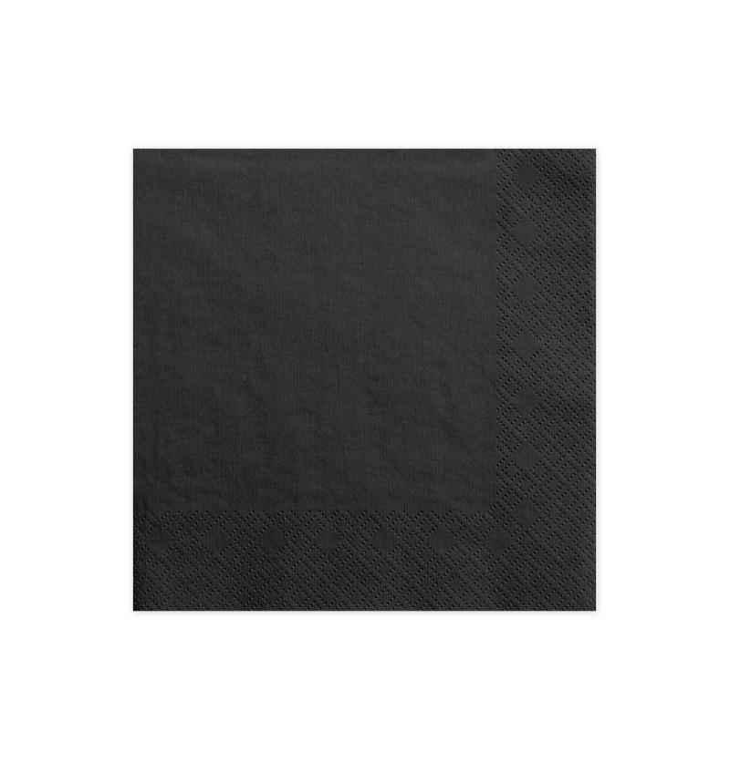 Set de 20 servilletas negras de papel