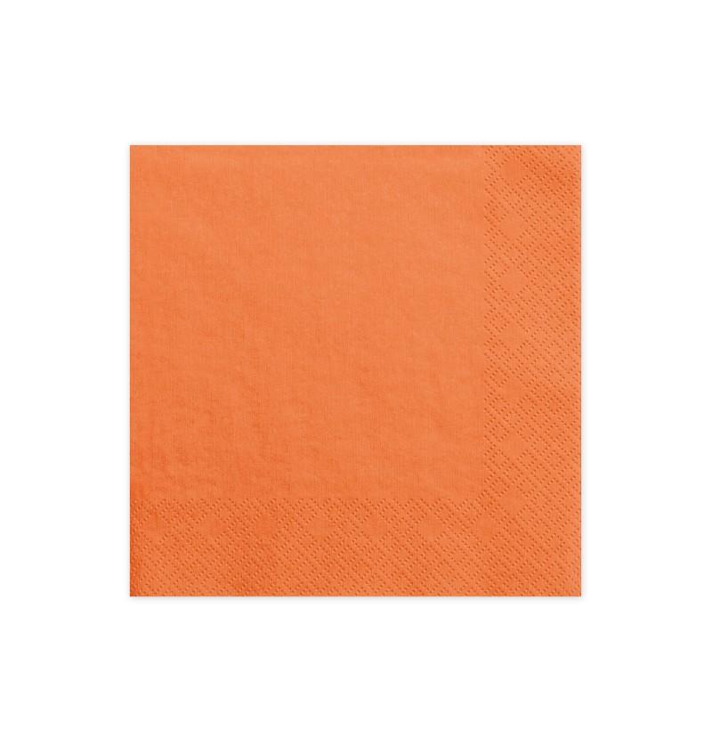 Set de 20 servilletas naranjas de papel