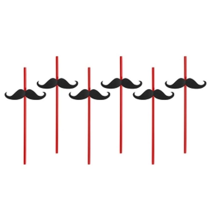 Set de 6 pajitas rojas con bigote - Hen Night