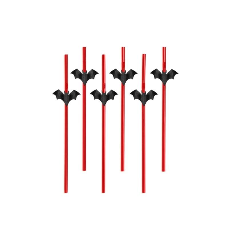 Set de 6 pajitas rojas con figuritas de murciélagos - Halloween