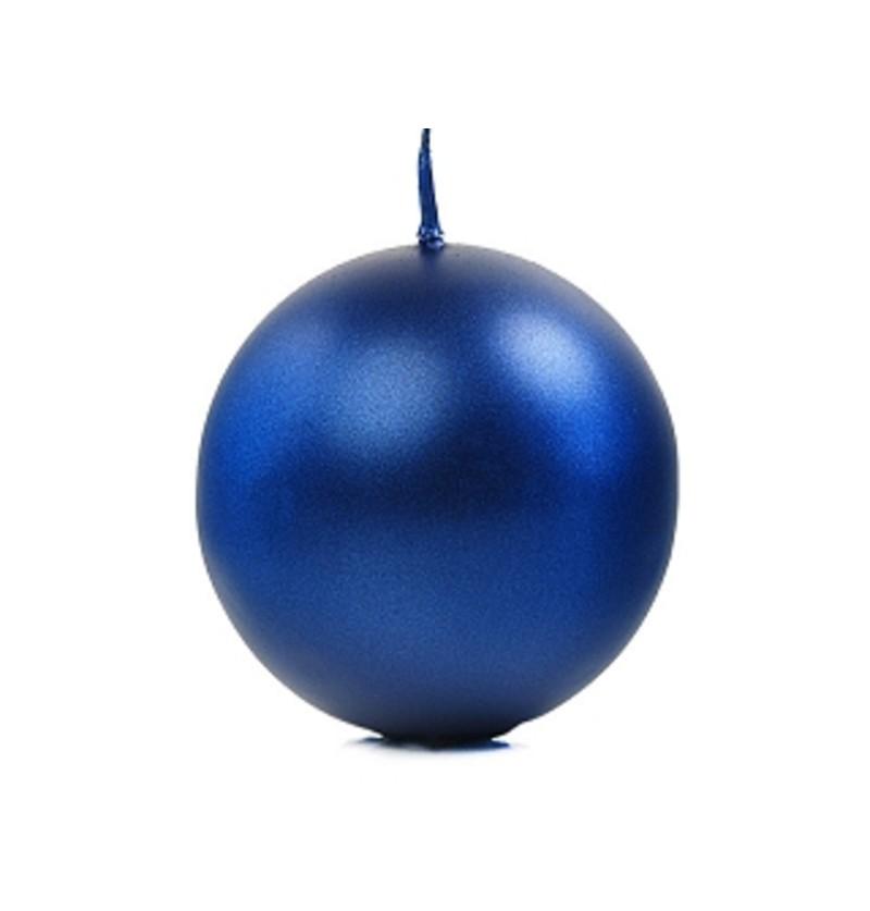 Set de 6 velas esféricas azules marino de 8 cm